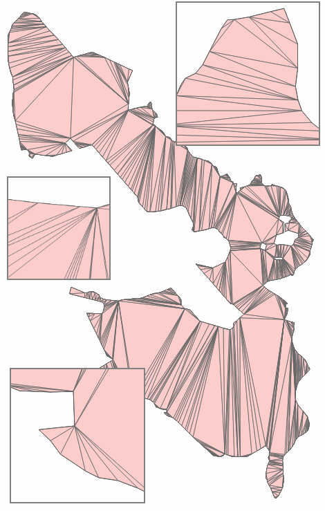 A constrained Delaunay triangulation was applied to this real-world polygon.