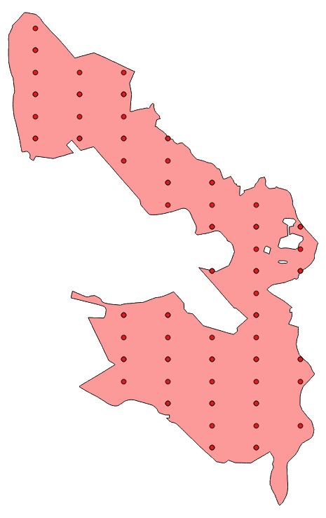 A real-world polygon with a regular grid of sampling points using non-uniform sampling intervals.