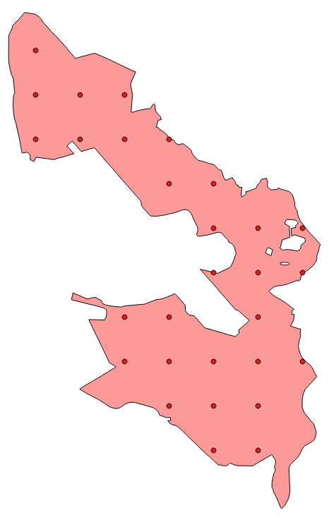 A real-world polygon with a regular grid of sampling points.